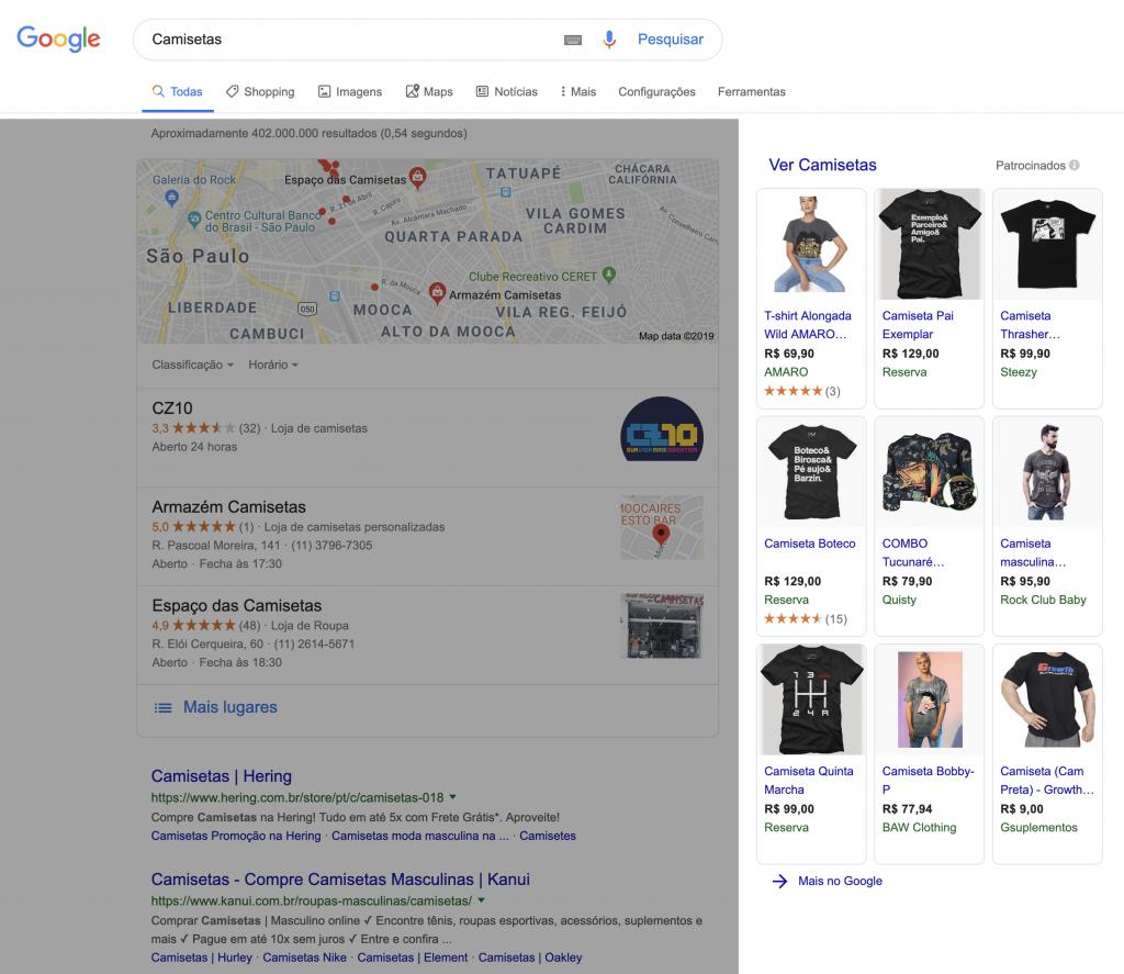 Pesquisa Google - Camisetas